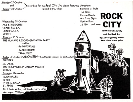 Rock City Sleepers Mutants Roy Loney & the Phantom Movers Aliens Halloween