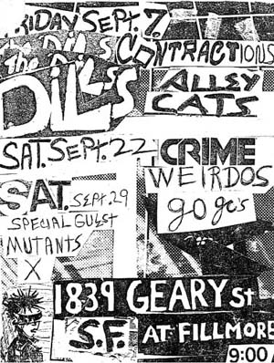 1839 Geary go gos crime weirdos mutants X Dils Contractions alley cats