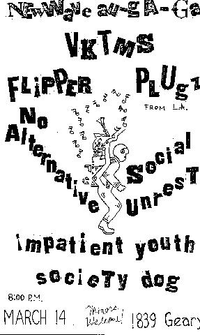new wave au go go flipper no alternative social unreast plugz impatient youth society dog 1839 geary